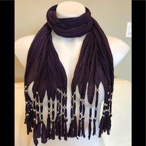 Purple Tassel Scarf
